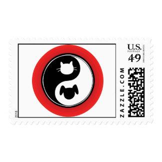 Yin Yang Cat Dog Stamps