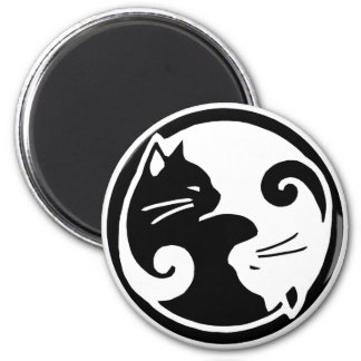 Yin Yang Cats 2 Inch Round Magnet