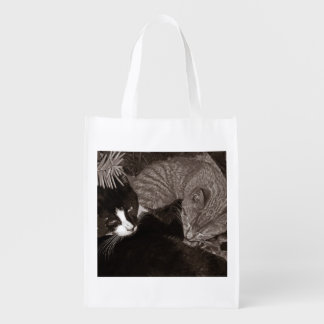Yin Yang Cats Grocery Bag