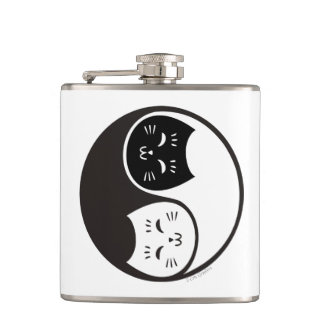 Yin Yang Cats in Black and White Hip Flask