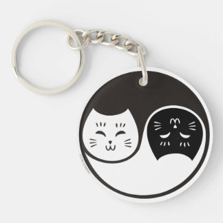 Yin Yang Cats in Black and White Keychain