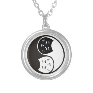 Yin Yang Cats in Black and White Pendants