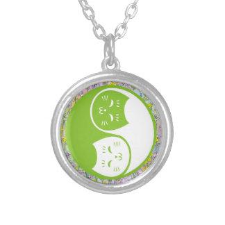 Yin Yang Cats in Lime Green Pendant