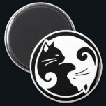 """Yin Yang Cats Magnet<br><div class=""""desc"""">Stylish and modern,  our yin yang cats design features two entwined ying yang cats in this asian-inspired artwork. This high quality item makes a great gift for cat lovers of all ages!</div>"""