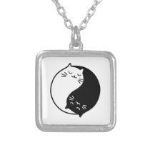 Yin Yang Cats Silver Plated Necklace