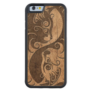 Yin Yang Cats with Wood Grain Effect Carved Maple iPhone 6 Bumper Case