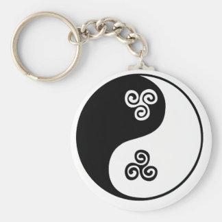 Yin Yang Celtic Tri Spiral Keychain
