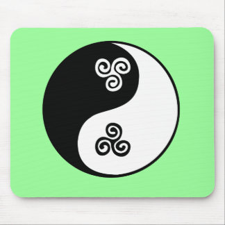Yin Yang Celtic Tri Spiral Mouse Pad
