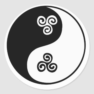 Yin Yang Celtic Tri Spiral Round Stickers