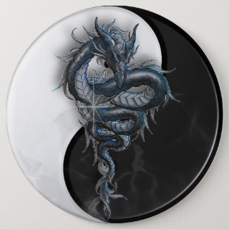 Yin Yang Chinese Dragon Colossal 6 Inch Badge Button