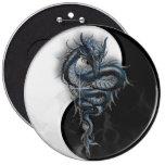 Yin Yang Chinese Dragon Colossal 6 Inch Badge Pin
