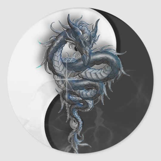 Yin Yang Chinese Dragon Large Round Stickers