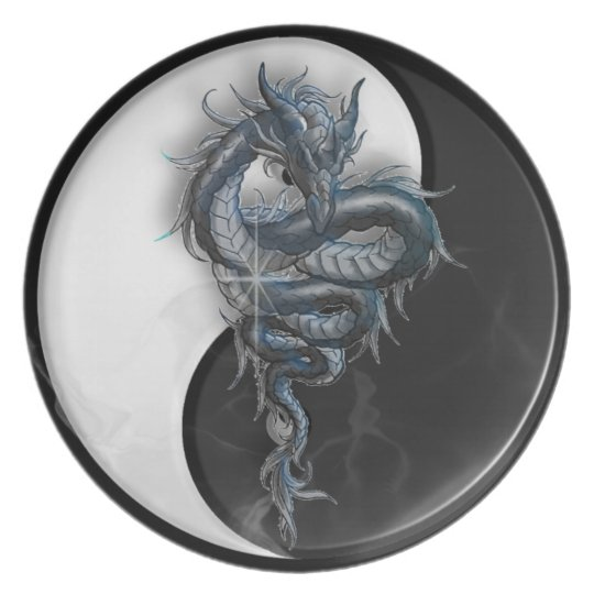 Yin Yang Chinese Dragon Plate
