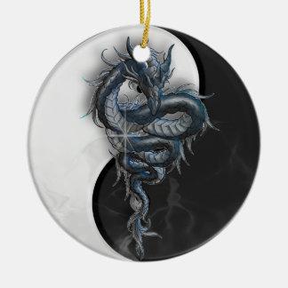Yin Yang Chinese Dragon Round Ornament