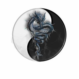 Yin Yang Chinese Dragon Sculpture Photo Sculpture Keychain
