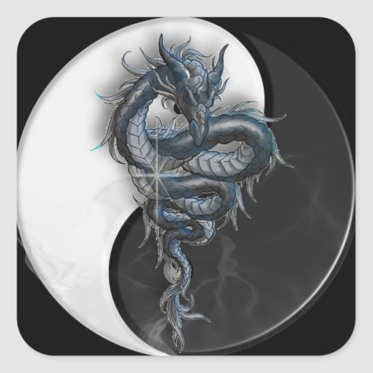 Yin Yang Chinese Dragon Square Stickers