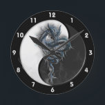 """Yin Yang Chinese Dragon Wall Clock<br><div class=""""desc"""">The design on this Wall Clock is a blue chinese dragon backed by a black and white Yin Yang symbol. A small amount of smoke rises from the base of the Yin Yang emblem.  This celestial creature,  the Chinese dragon is strong,  adventurous and outgoing.  It&#39;s energy is typically yang.</div>"""