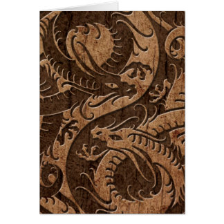 Yin Yang Chinese Dragons with Wood Grain Effect Card
