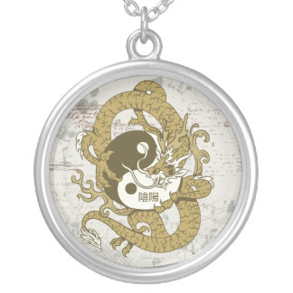 Yin yang Chinese symbol and dragon Round Pendant Necklace