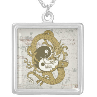 Yin yang Chinese symbol and dragon Square Pendant Necklace