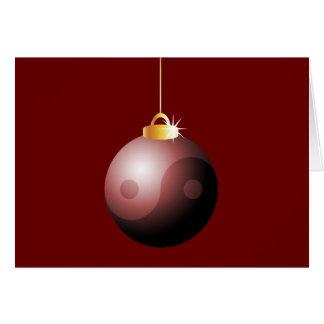 Yin Yang Christmas Ball in Red Card