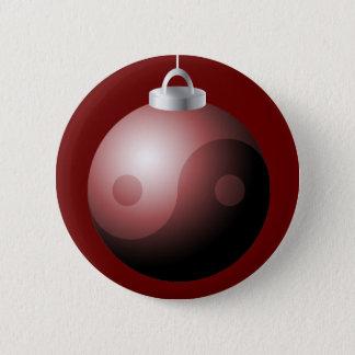 Yin Yang Christmas Ball in Red Pinback Button