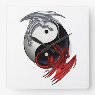 Yin Yang Clock: Fire and Ice Dragons Square Wall Clock