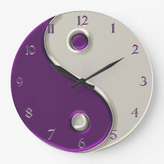Yin Yang Clock in Purple and While
