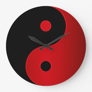 Yin Yang Clock in Red and Black