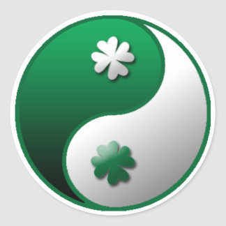 Yin Yang Clover Classic Round Sticker