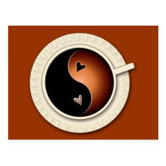 yin yang coffee postcard