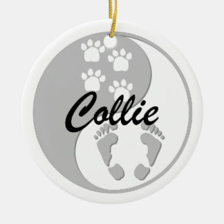 yin yang collie Double-Sided ceramic round christmas ornament