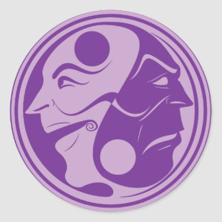 Yin Yang Comedy Tragedy Purple Classic Round Sticker