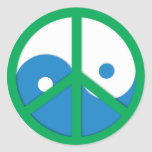 Yin-Yang con el signo de la paz Pegatina Redonda