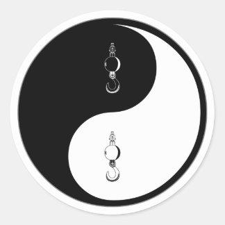 Yin Yang Crane Classic Round Sticker