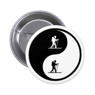 Yin Yang Cross Country Skiing Pinback Buttons