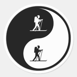 Yin Yang Cross Country Skiing Classic Round Sticker