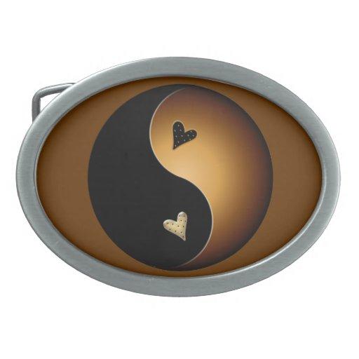 yin yang del caramelo hebillas cinturon ovales