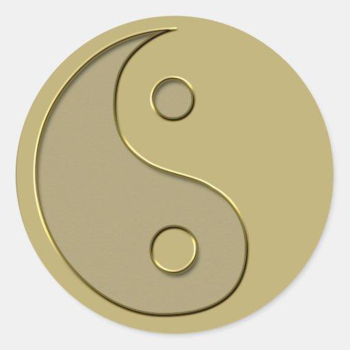 yin yang del oro pegatina redonda