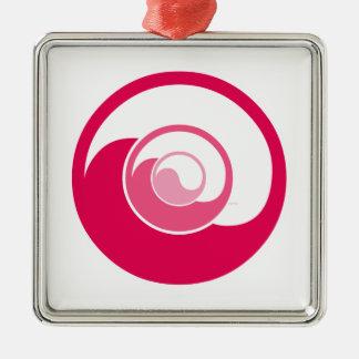 Yin Yang Design Square Metal Christmas Ornament