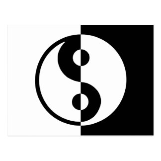 Yin Yang difference divide black and white Postcard