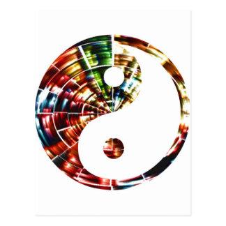 Yin Yang - diseño rojo de la chispa Postales