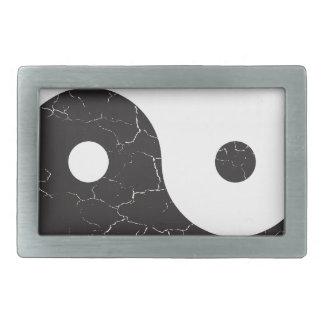Yin Yang - Distressed Texture Rectangular Belt Buckles