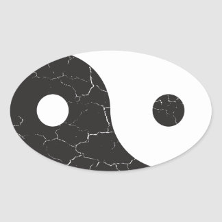 Yin Yang - Distressed Texture Oval Sticker