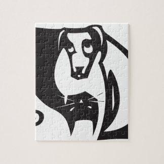 Yin Yang Dog and Cat Jigsaw Puzzle