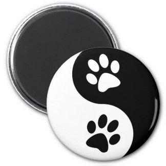 Yin Yang Dog Paws 2 Inch Round Magnet