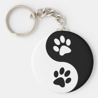 Yin Yang Dog Paws Basic Round Button Keychain