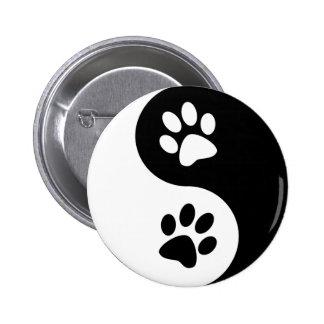 Yin Yang Dog Paws Pinback Button
