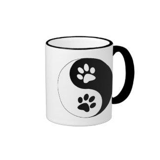 Yin Yang Dog Paws Ringer Mug