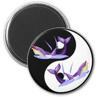Yin Yang Dolphins 2 Inch Round Magnet